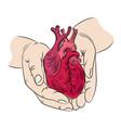 heart and hands health symbol medicine human hand