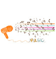 i love music doodle art with note vector image vector image