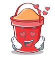 in love bucket character cartoon style vector image vector image
