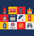 london icons set traditions symbols of england vector image vector image