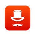 magic black hat and mustache icon digital red vector image vector image