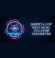 neon pharmacy glowing signboard with heart shape vector image vector image