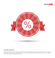 percentage icon - red ribbon banner vector image