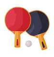 ping pong rackets with ball fitness and sports vector image