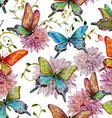 retro seamless texture with flying butterflies vector image vector image