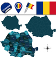 Romania map with named divisions