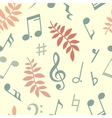 seamless pattern music notes and leaves vector image