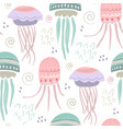 seamless pattern with colorful jellyfish vector image