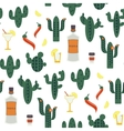 seamless pattern with green cactuses vector image
