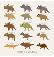 Set of Horned dinosaurs eps10 format vector image vector image