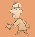 sketch cartoon character walking man in a fur vector image