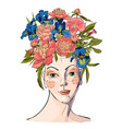 spring woman with flowers her hair vector image vector image