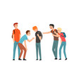 teen students laughing and pointing at boy vector image vector image