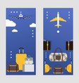 travel bags on vertical banners suitcases for vector image