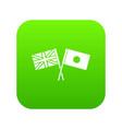 uk and japan flags crossed icon digital green vector image vector image