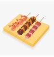 Asian snack skewers vector image