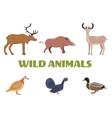 Wild forest animals with boar deer moose duck vector image