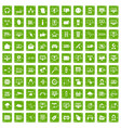 100 internet icons set grunge green vector image vector image