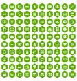 100 money icons hexagon green vector image
