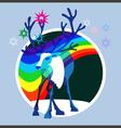 Aurora borealis deer vector image