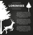 background with deer and tree vector image