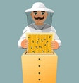 beekeeper in a white suit portrait of a man in a vector image