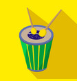 brazilian drum cartoon flat icon brazil vector image