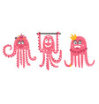 cartoon cute octopuses set vector image vector image