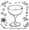 champagne saucer coctail glass hand drawn vector image vector image