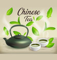 chinese cast iron teapot and 2 cups for tea vector image