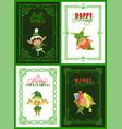 christmas greeting cards elves or santa helpers vector image vector image