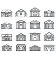 city courthouse icons set outline style vector image vector image