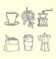 coffee set with coffee grinder vector image