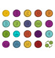 coin icon set color outline style vector image