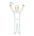 construction worker with paint roller avatar vector image vector image