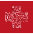 Cross shape with medical doodle icons vector image