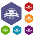 crown award icons hexahedron vector image vector image