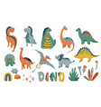dino cute set with animal baby vector image vector image
