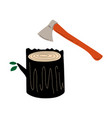 felled tree or stump and ax deforestation vector image