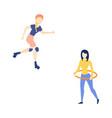flat girl roller skating hula hooping vector image vector image