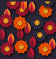 floral autumn background with 3d paper cut style vector image vector image