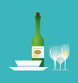 glass bottle plates alcoholic drink with emblem vector image