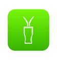 glass cola icon green vector image vector image