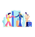happy young couple rent apartment for leisure vector image vector image
