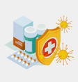 isometric pills tablets and medicines in plastic vector image vector image