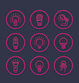 light bulbs icons set linear style vector image