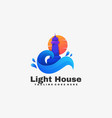logo light house gradient colorful style vector image