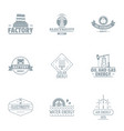 manufacturing plant logo set simple style vector image