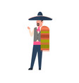 mexico man in traditional costume and mexican vector image vector image