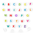 multicolored letters a to z in white paper circle vector image